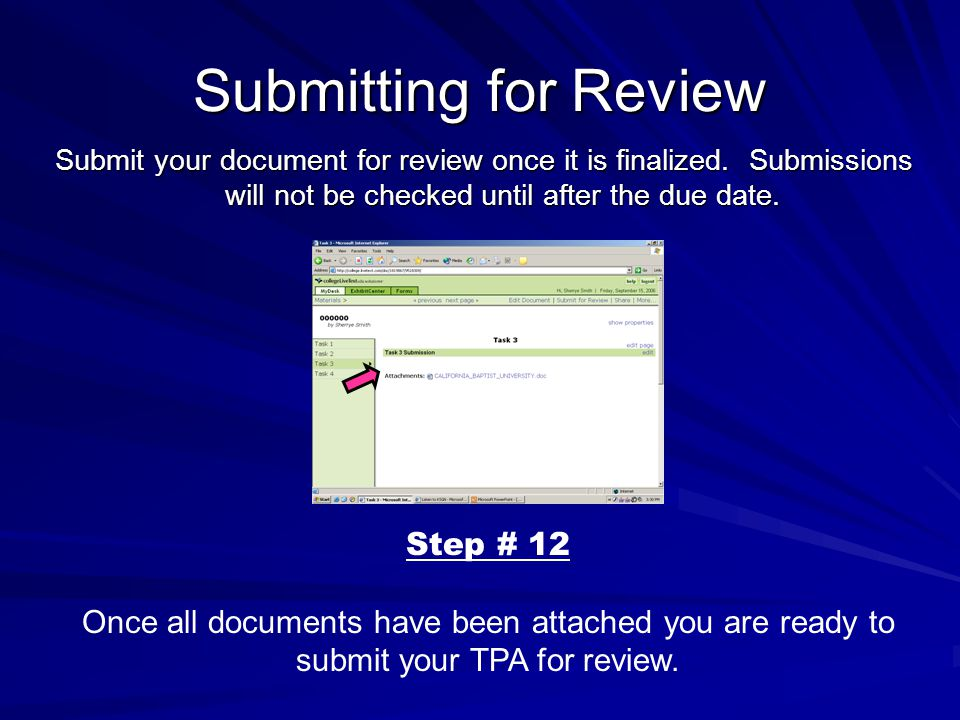 Submitting for Review Submit your document for review once it is finalized.