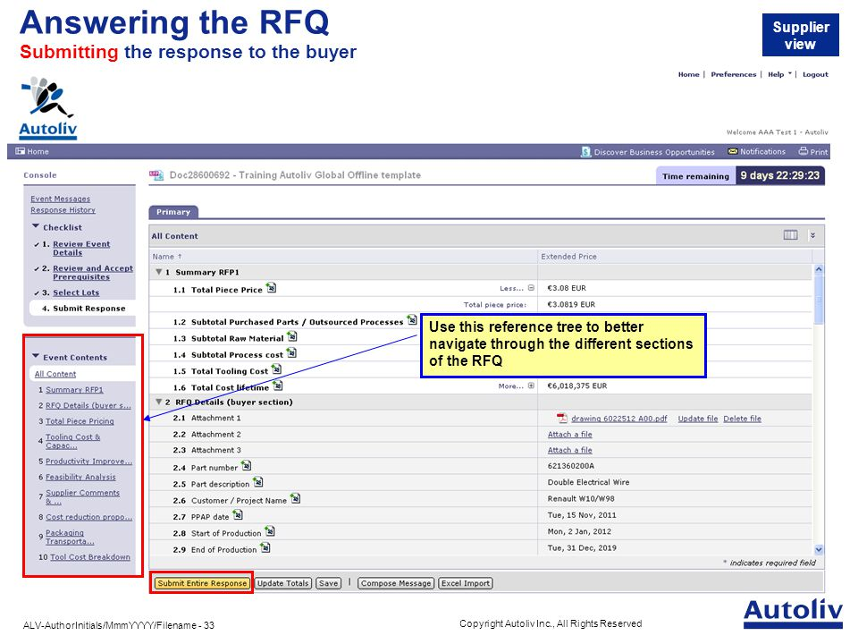 ALV-AuthorInitials/MmmYYYY/Filename - 33 Copyright Autoliv Inc., All Rights Reserved Answering the RFQ Submitting the response to the buyer Supplier view Use this reference tree to better navigate through the different sections of the RFQ