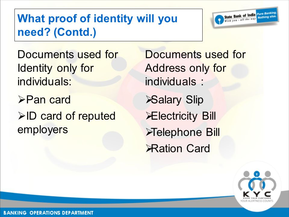 What proof of identity will you need.