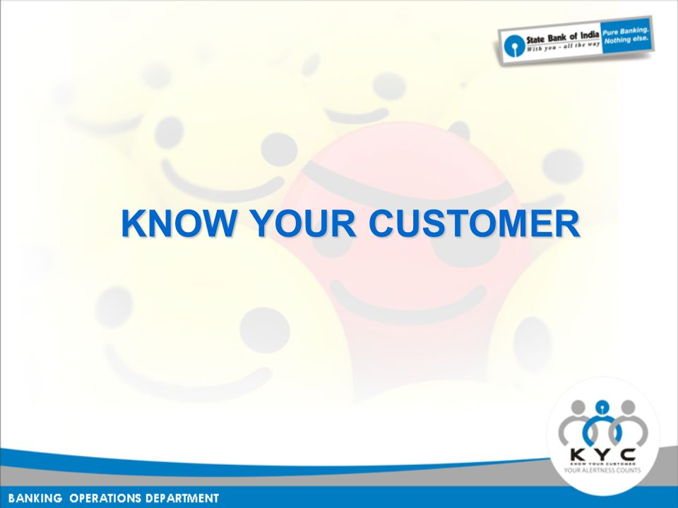 KNOW YOUR CUSTOMER KNOW YOUR CUSTOMER