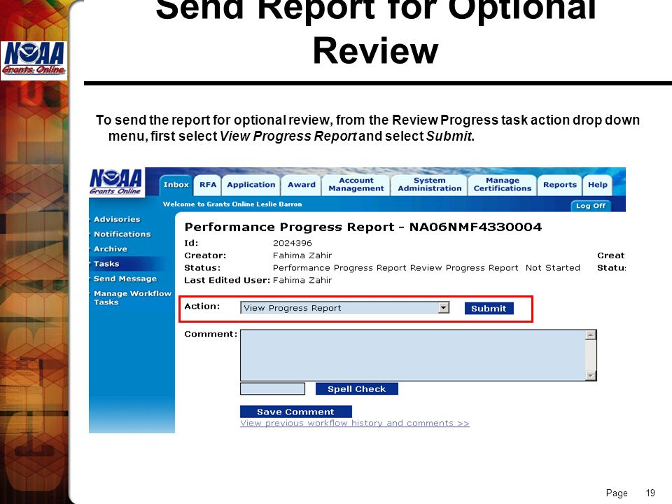 Page 19 Send Report for Optional Review To send the report for optional review, from the Review Progress task action drop down menu, first select View Progress Report and select Submit.