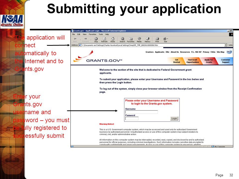 Page 32 Submitting your application Enter your Grants.gov username and password – you must be fully registered to successfully submit The application will connect automatically to the Internet and to Grants.gov