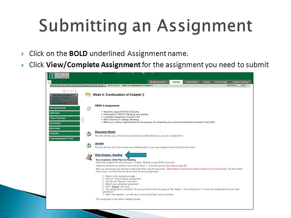  Click on the BOLD underlined Assignment name.