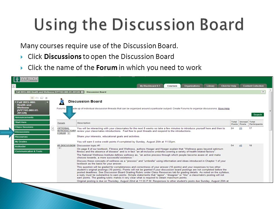 Many courses require use of the Discussion Board.