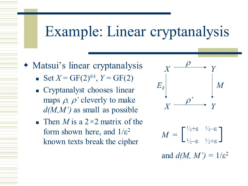 Analysis and design of symmetric ciphers David Wagner