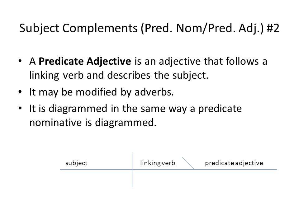Diagramming sentences subject complements pred nompred adj 2 diagramming sentences 2 subject complements ccuart Gallery