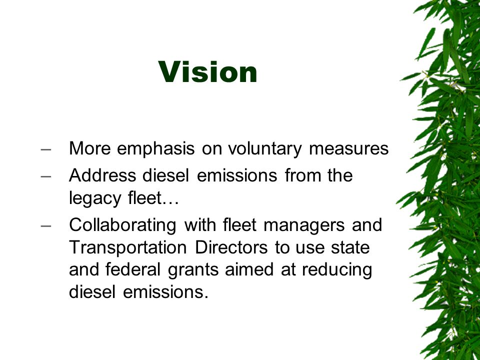 Vision –More emphasis on voluntary measures –Address diesel emissions from the legacy fleet… –Collaborating with fleet managers and Transportation Directors to use state and federal grants aimed at reducing diesel emissions.
