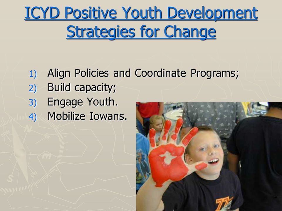 ICYD Positive Youth Development Strategies for Change 1) Align Policies and Coordinate Programs; 2) Build capacity; 3) Engage Youth.