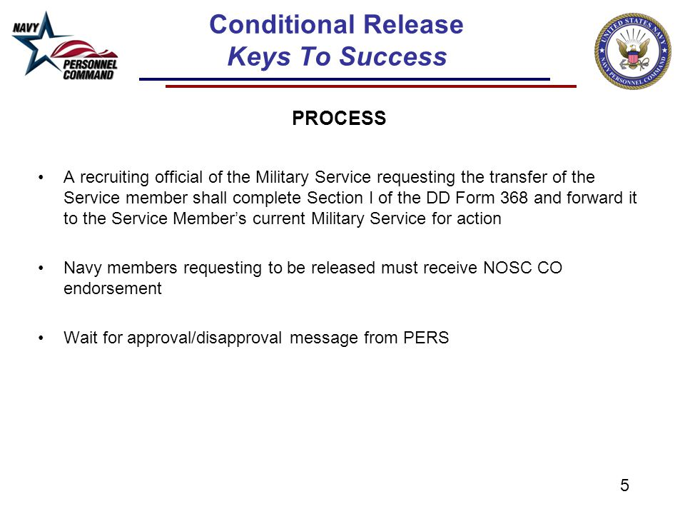 conditional release for reservists ' keys to success' - ppt download