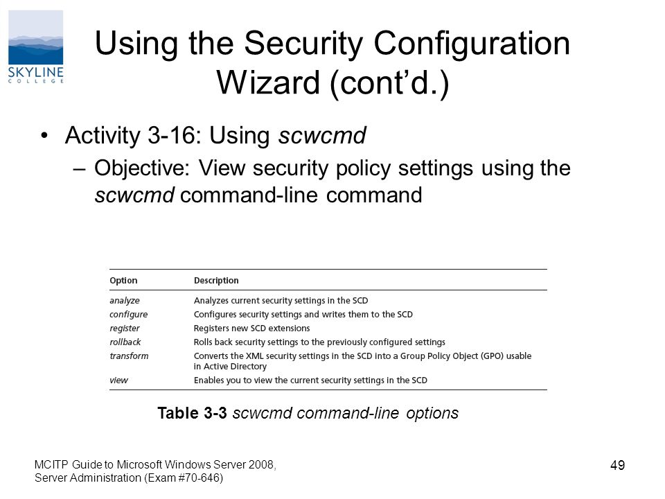 Using the Security Configuration Wizard (cont'd.) Activity 3-16: Using scwcmd –Objective: View security policy settings using the scwcmd command-line command MCITP Guide to Microsoft Windows Server 2008, Server Administration (Exam #70-646) 49 Table 3-3 scwcmd command-line options