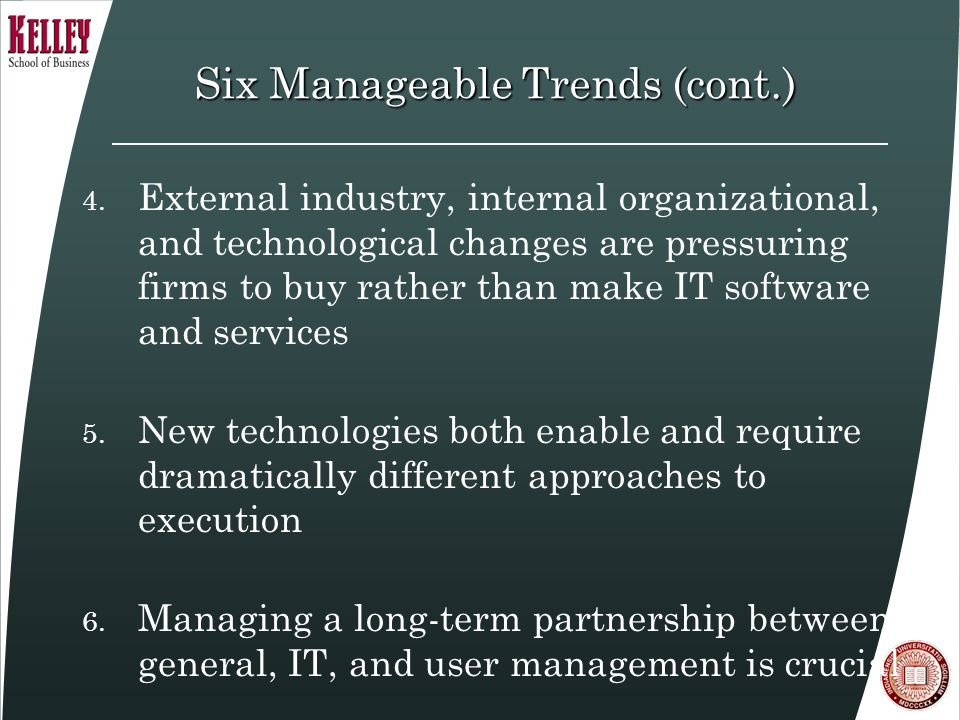 Six Manageable Trends (cont.) 4.