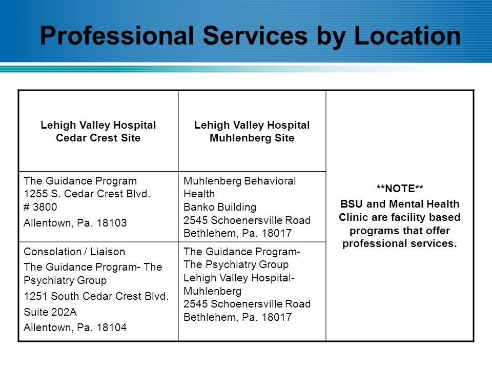 Professional Services by Location Lehigh Valley Hospital Cedar Crest Site Lehigh Valley Hospital Muhlenberg Site **NOTE** BSU and Mental Health Clinic are facility based programs that offer professional services.