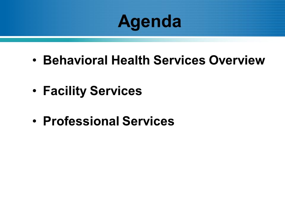 Agenda Behavioral Health Services Overview Facility Services Professional Services