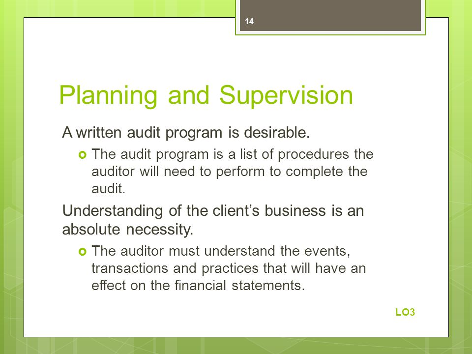 Planning and Supervision A written audit program is desirable.
