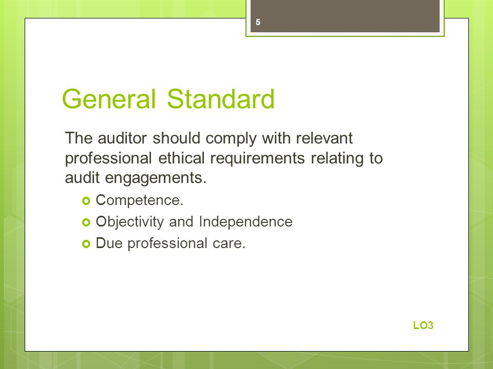 General Standard The auditor should comply with relevant professional ethical requirements relating to audit engagements.