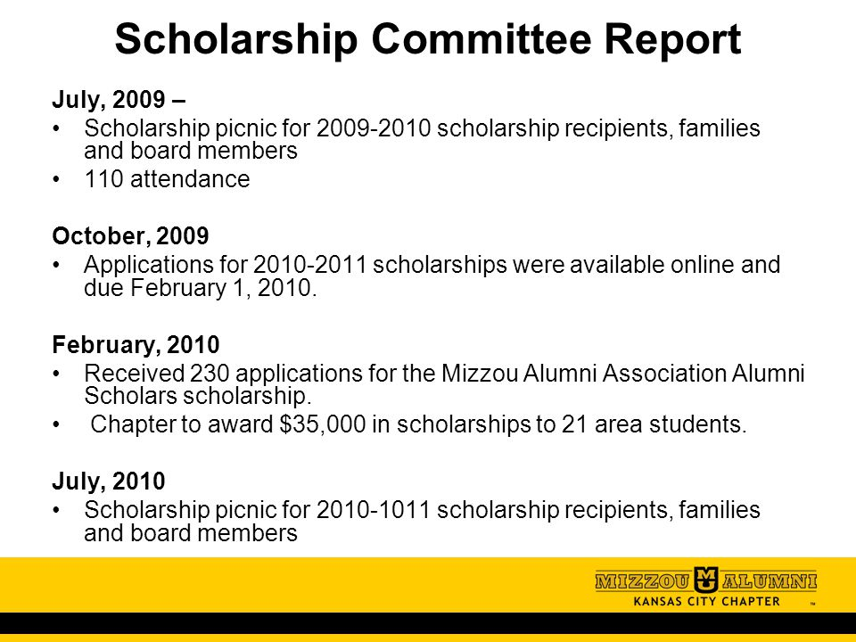 32 Scholarship Committee Report July 2009