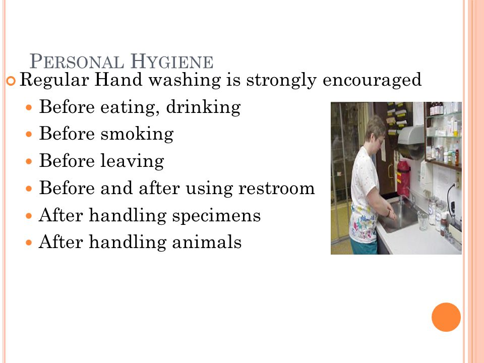 P ERSONAL H YGIENE Regular Hand washing is strongly encouraged Before eating, drinking Before smoking Before leaving Before and after using restroom After handling specimens After handling animals