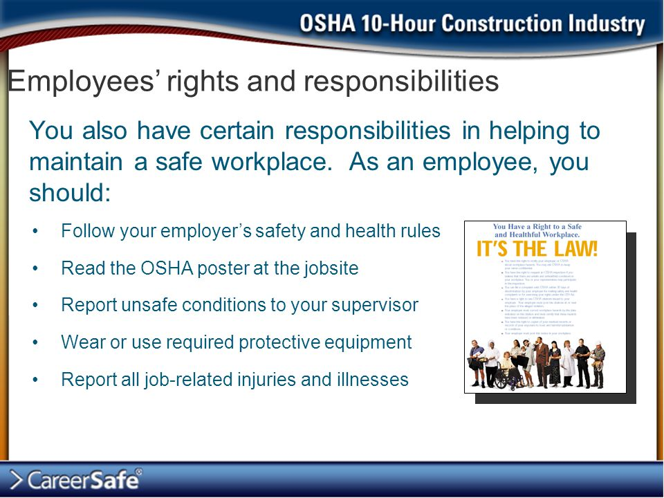 Employees' rights and responsibilities You also have certain responsibilities in helping to maintain a safe workplace.