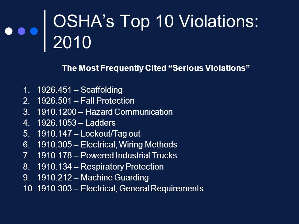 OSHA's Top 10 Violations: 2010 The Most Frequently Cited Serious Violations 1.