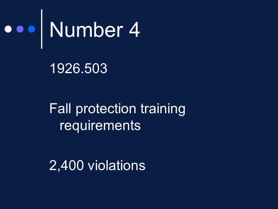 Number Fall protection training requirements 2,400 violations