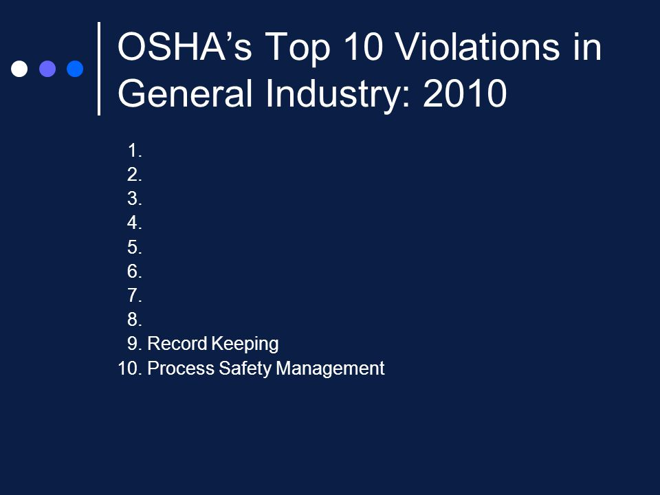 OSHA's Top 10 Violations in General Industry: