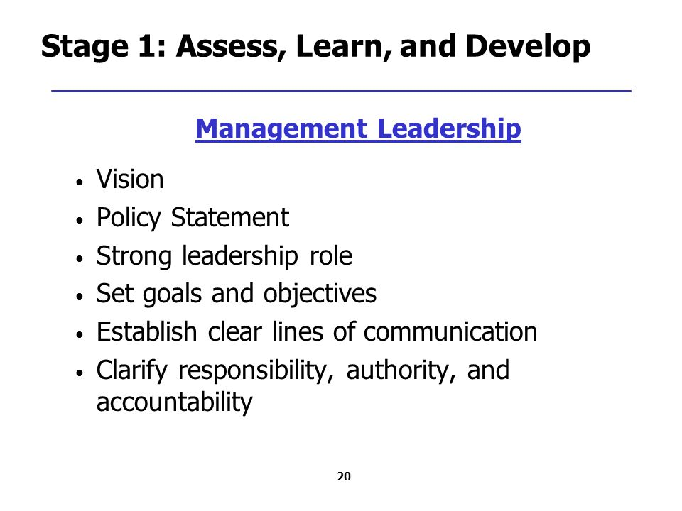 20 Stage 1: Assess, Learn, and Develop Management Leadership Vision Policy Statement Strong leadership role Set goals and objectives Establish clear lines of communication Clarify responsibility, authority, and accountability