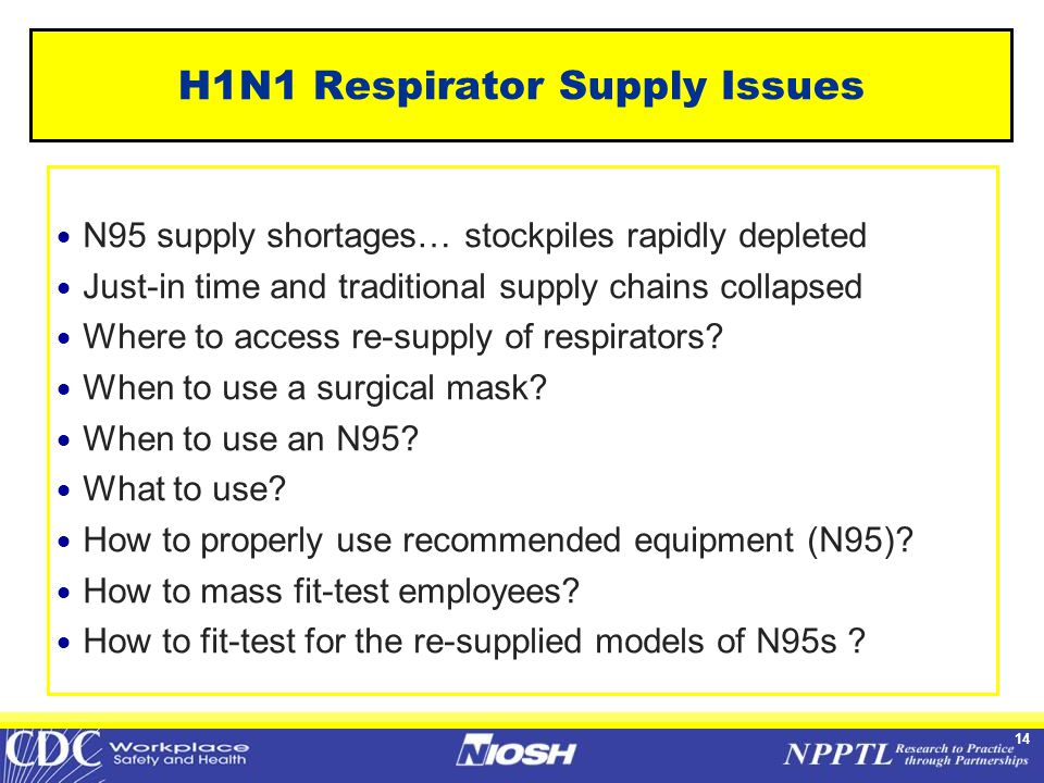 14 H1N1 Respirator Supply Issues  N95 supply shortages… stockpiles rapidly depleted  Just-in time and traditional supply chains collapsed  Where to access re-supply of respirators.
