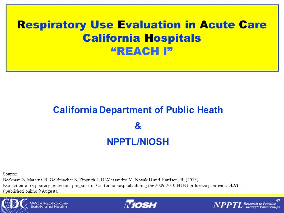 17 Respiratory Use Evaluation in Acute Care California Hospitals REACH I California Department of Public Heath & NPPTL/NIOSH Source: Beckman S, Materna B, Goldmacher S, Zipprich J, D'Alessandro M, Novak D and Harrison, R.