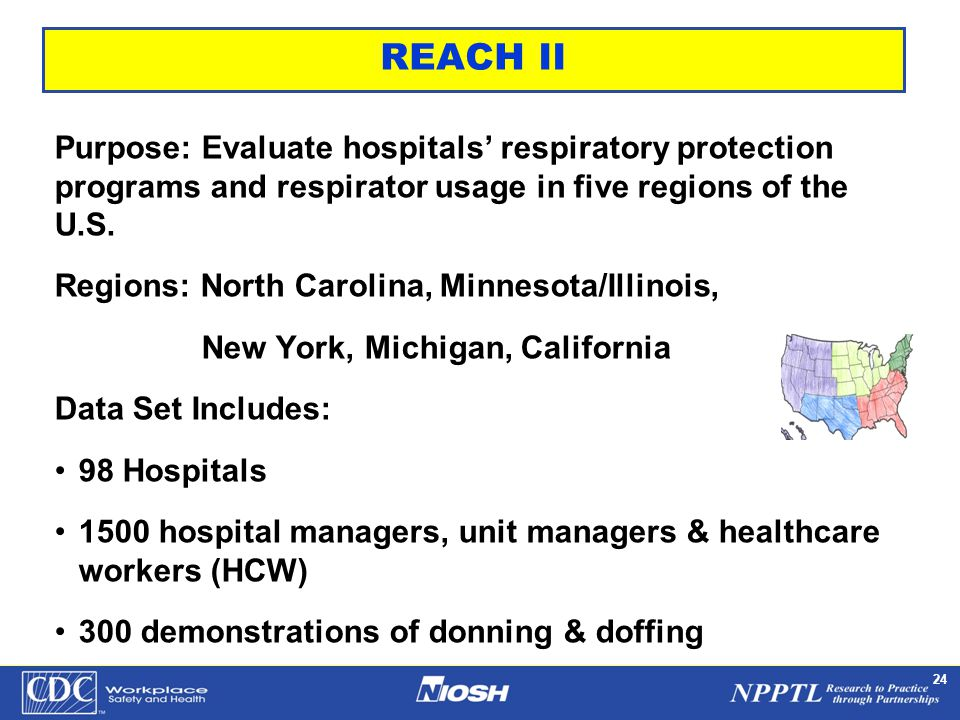 NPPTL Year Month Day Initials BRANCH 24 REACH II Purpose: Evaluate hospitals' respiratory protection programs and respirator usage in five regions of the U.S.