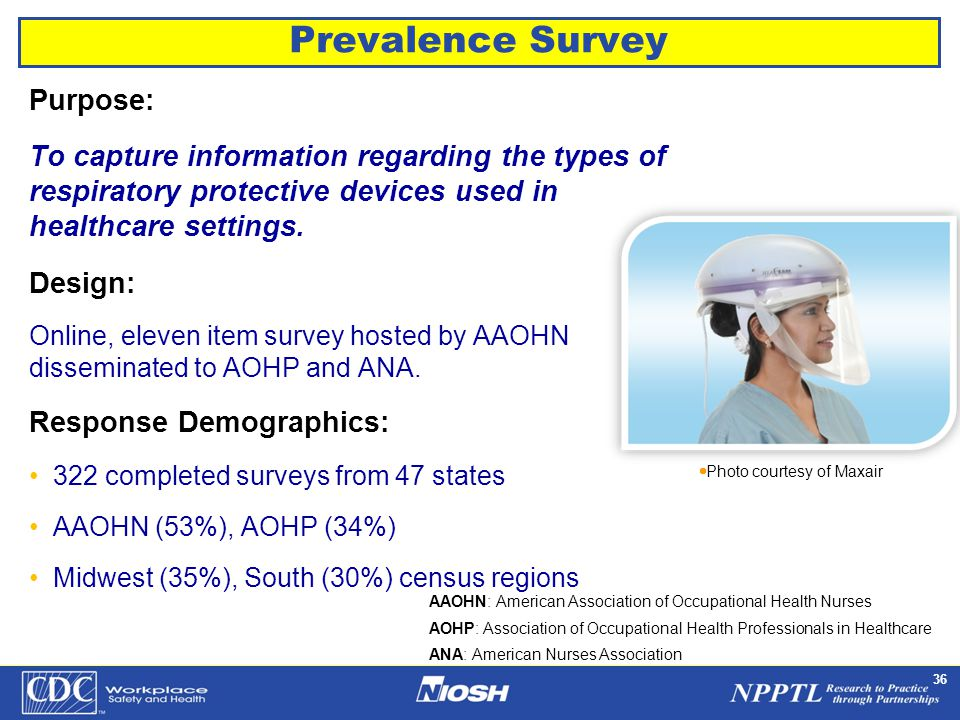NPPTL Year Month Day Initials BRANCH 36 Prevalence Survey Purpose: To capture information regarding the types of respiratory protective devices used in healthcare settings.