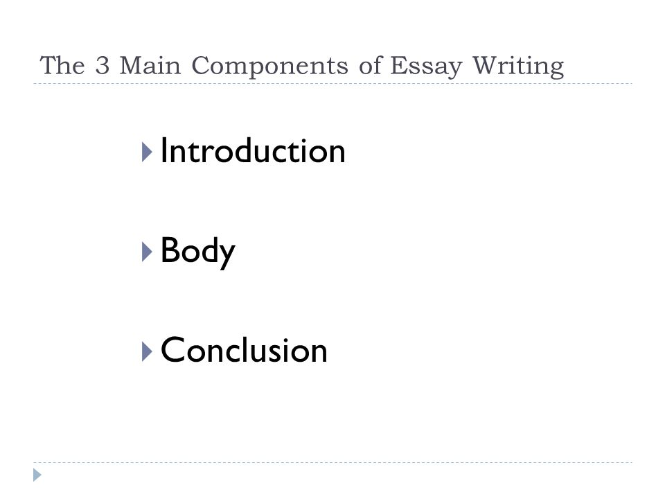 How To Write A College Essay Paper  The  Main Components Of Essay Writing  Introduction  Body  Conclusion Business Essay Format also Health Care Essays The Components Of An Essay English  The  Main Components Of Essay  Argument Essay Thesis Statement