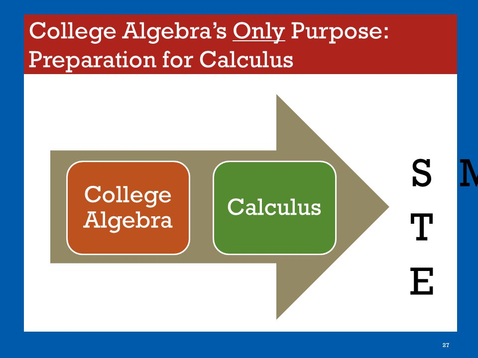 College Algebra's Only Purpose: Preparation for Calculus 27 College Algebra Calculus