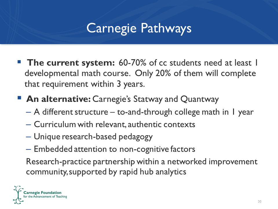 Carnegie Pathways  The current system: 60-70% of cc students need at least 1 developmental math course.