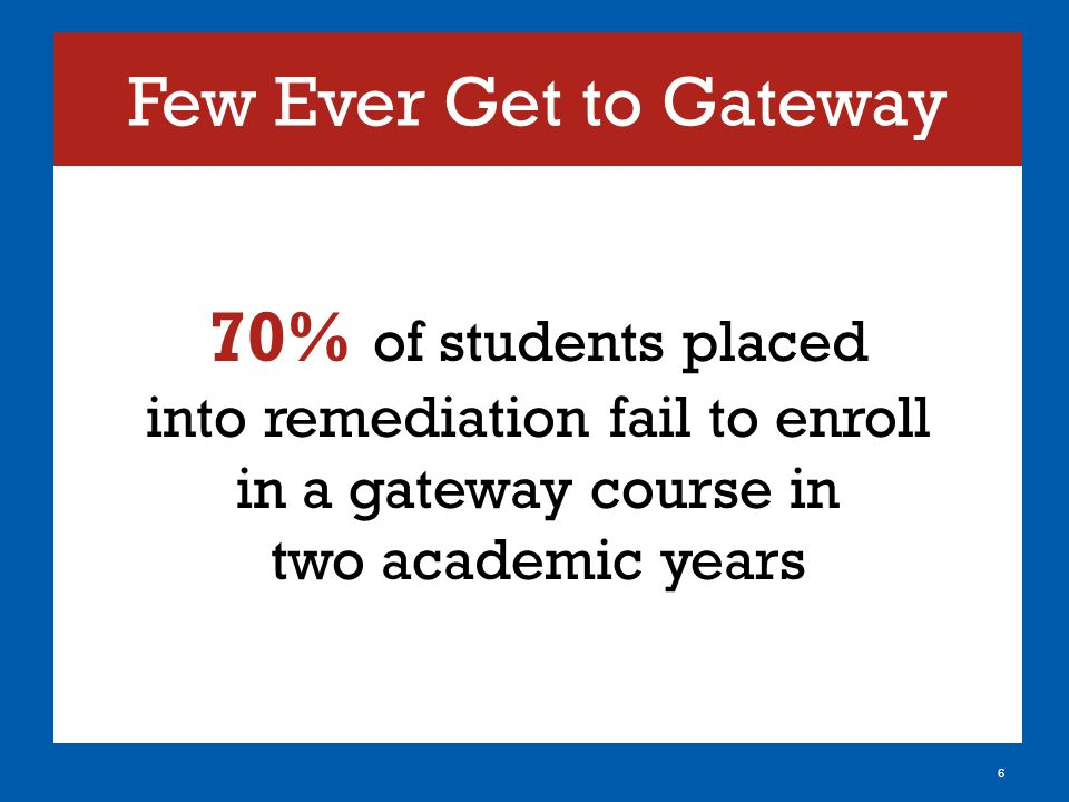Few Ever Get to Gateway 70% of students placed into remediation fail to enroll in a gateway course in two academic years 6