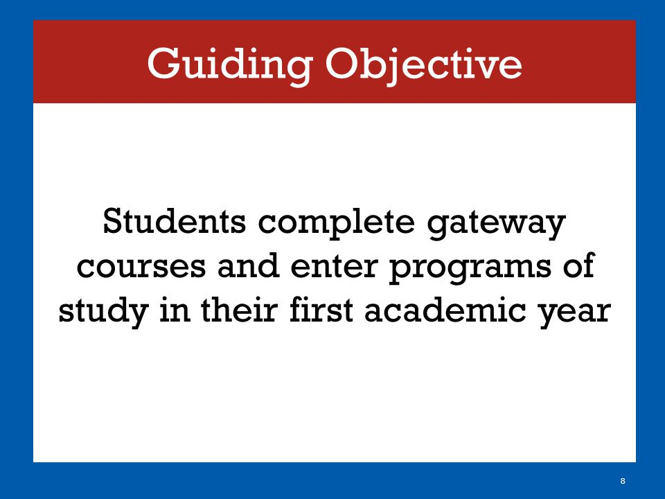 Guiding Objective Students complete gateway courses and enter programs of study in their first academic year 8