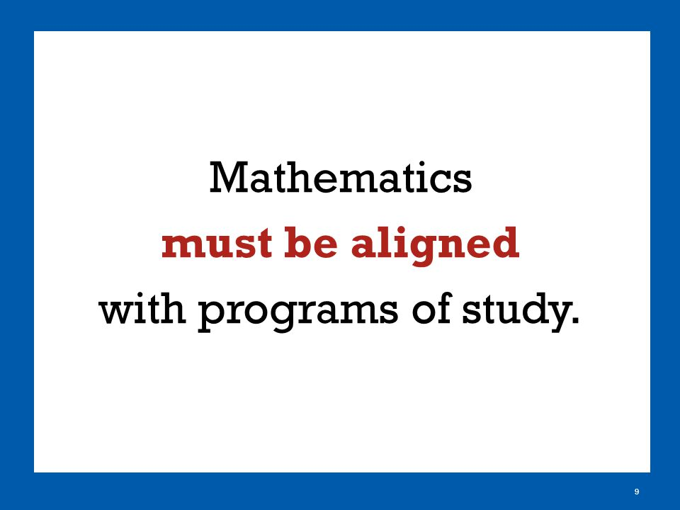 Mathematics must be aligned with programs of study. 9