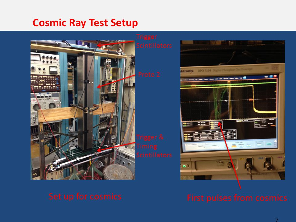 7 Cosmic Ray Test Setup Set up for cosmics First pulses from cosmics Proto 2 Trigger Scintillators Trigger & Timing Scintillators