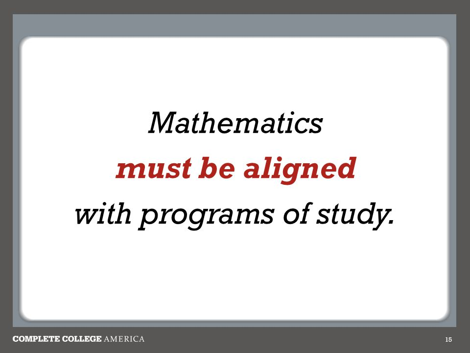 15 Mathematics must be aligned with programs of study.
