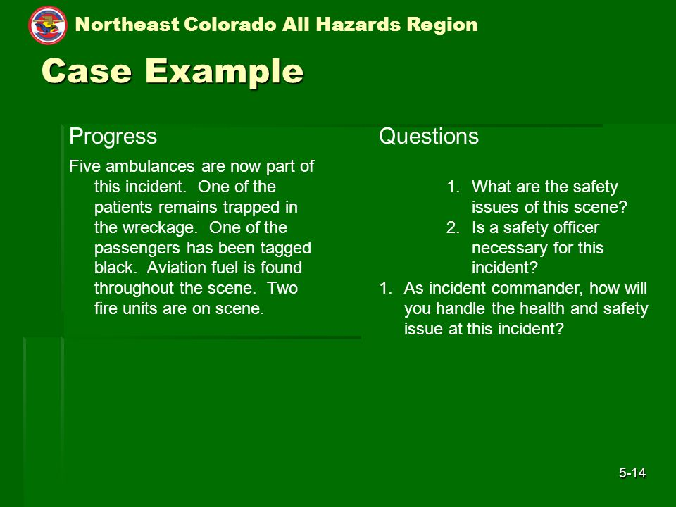 Northeast Colorado All Hazards Region 5-14 Case Example Five ambulances are now part of this incident.