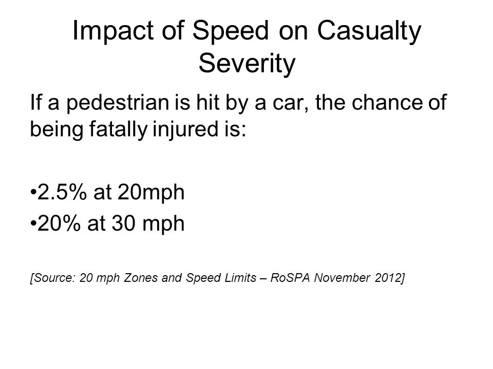 Impact of Speed on Casualty Severity If a pedestrian is hit by a car, the chance of being fatally injured is: 2.5% at 20mph 20% at 30 mph [Source: 20 mph Zones and Speed Limits – RoSPA November 2012]