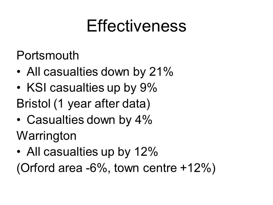 Effectiveness Portsmouth All casualties down by 21% KSI casualties up by 9% Bristol (1 year after data) Casualties down by 4% Warrington All casualties up by 12% (Orford area -6%, town centre +12%)