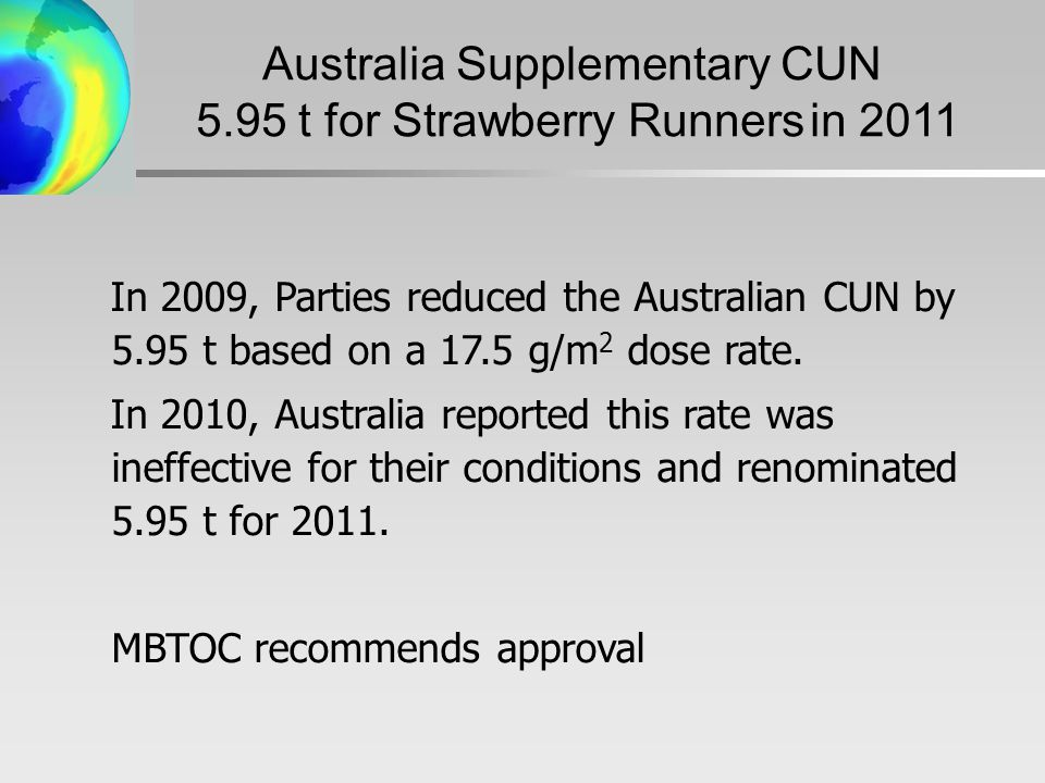 In 2009, Parties reduced the Australian CUN by 5.95 t based on a 17.5 g/m 2 dose rate.