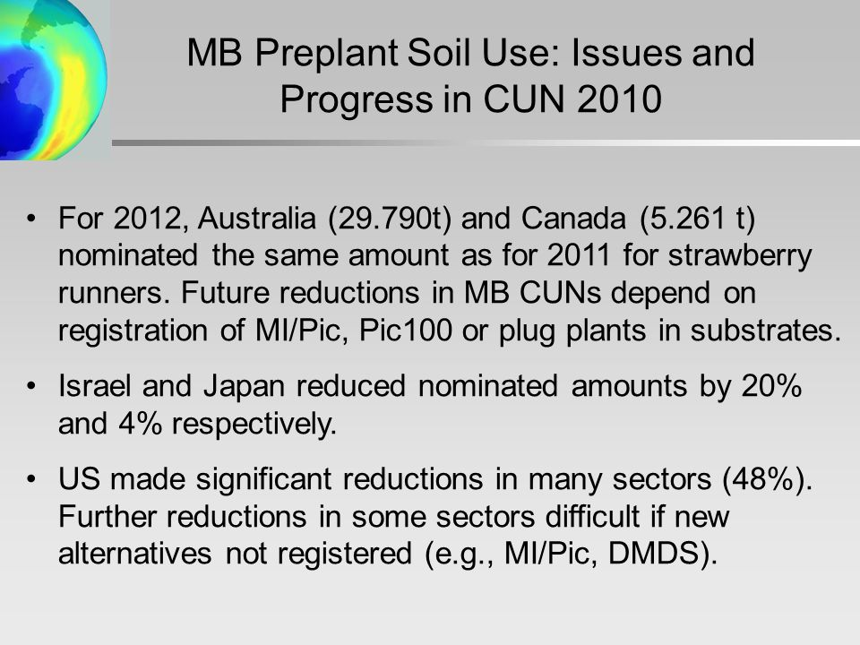 MB Preplant Soil Use: Issues and Progress in CUN 2010 For 2012, Australia (29.790t) and Canada (5.261 t) nominated the same amount as for 2011 for strawberry runners.