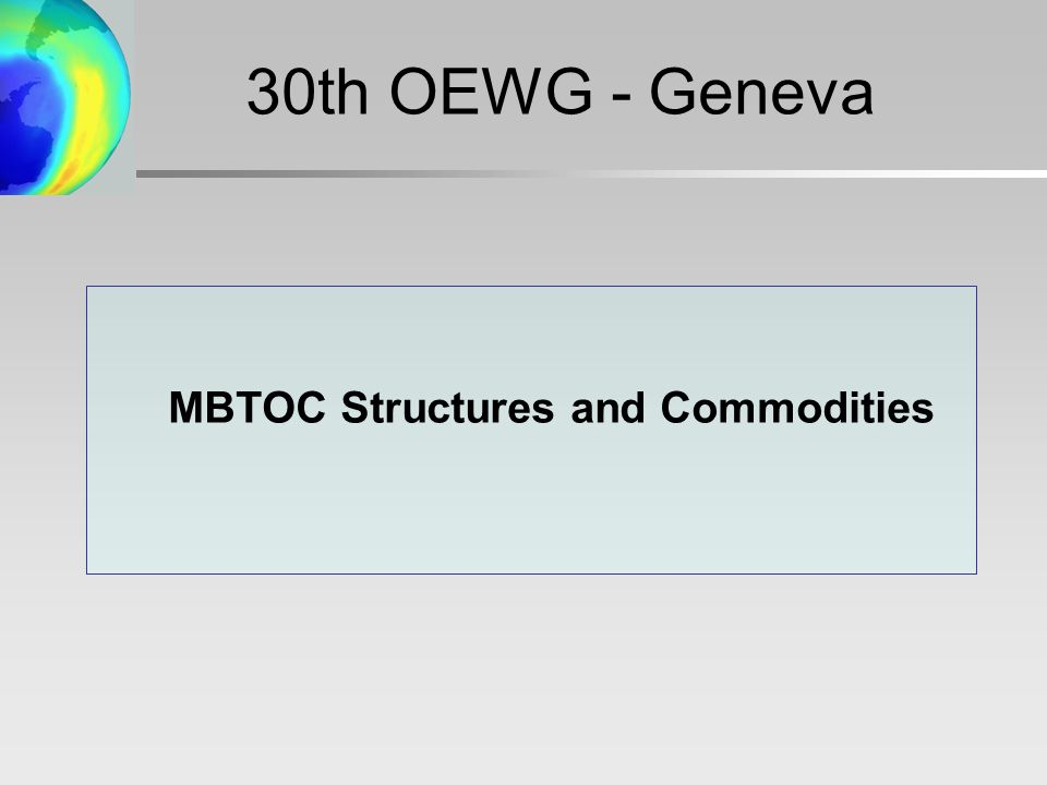 MBTOC Structures and Commodities 30th OEWG - Geneva