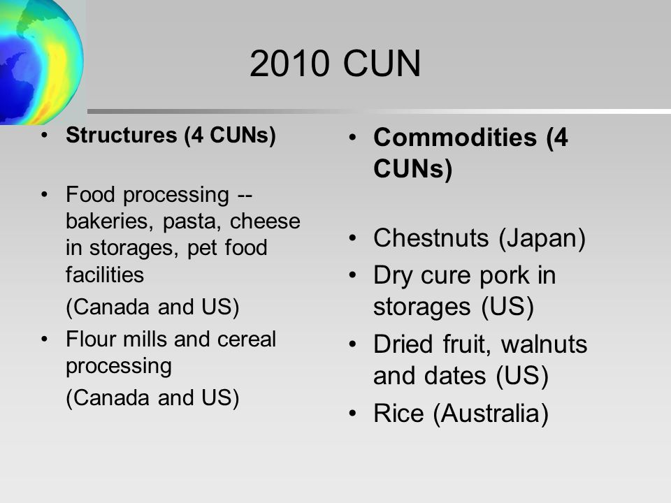 2010 CUN Structures (4 CUNs) Food processing -- bakeries, pasta, cheese in storages, pet food facilities (Canada and US) Flour mills and cereal processing (Canada and US) Commodities (4 CUNs) Chestnuts (Japan) Dry cure pork in storages (US) Dried fruit, walnuts and dates (US) Rice (Australia)