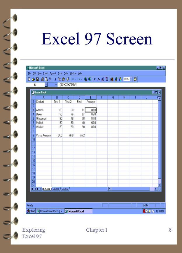 Exploring microsoft excel 97 chapter 1 introduction to microsoft 8 exploring excel 97 chapter 18 excel 97 screen altavistaventures Image collections