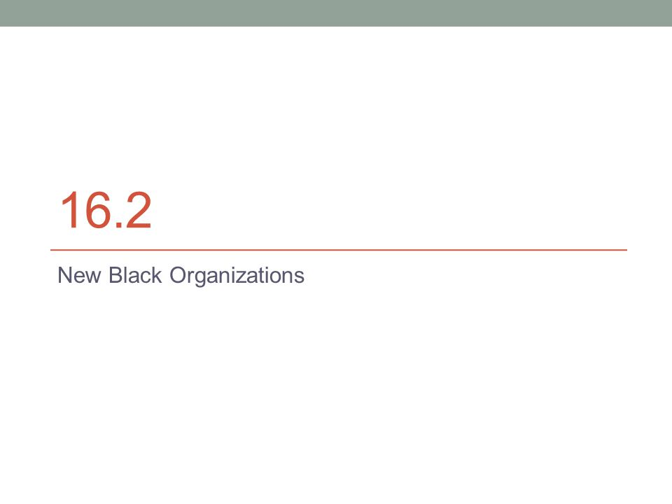 16.2 New Black Organizations