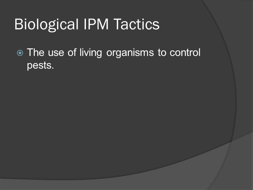 Biological IPM Tactics  The use of living organisms to control pests.