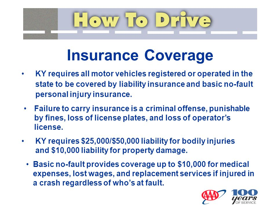 Insurance Coverage KY requires $25,000/$50,000 liability for bodily injuries and $10,000 liability for property damage.