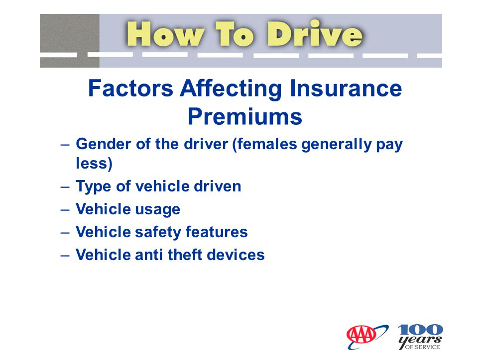 –Gender of the driver (females generally pay less) –Type of vehicle driven –Vehicle usage –Vehicle safety features –Vehicle anti theft devices Factors Affecting Insurance Premiums